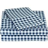 AmazonBasics Juego de sábanas de microfibra, California King, cuadriculado,  Azul  ( Gingham Plaid)