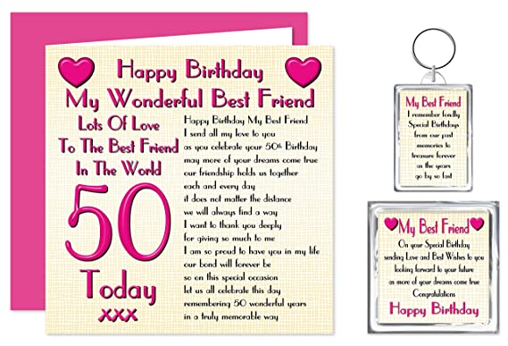 Best Friend 50th Happy Birthday Gift Set - Card, Keyring & Fridge Magnet  Present - Lots Of Love To The Best Friend In The World - 50 Today