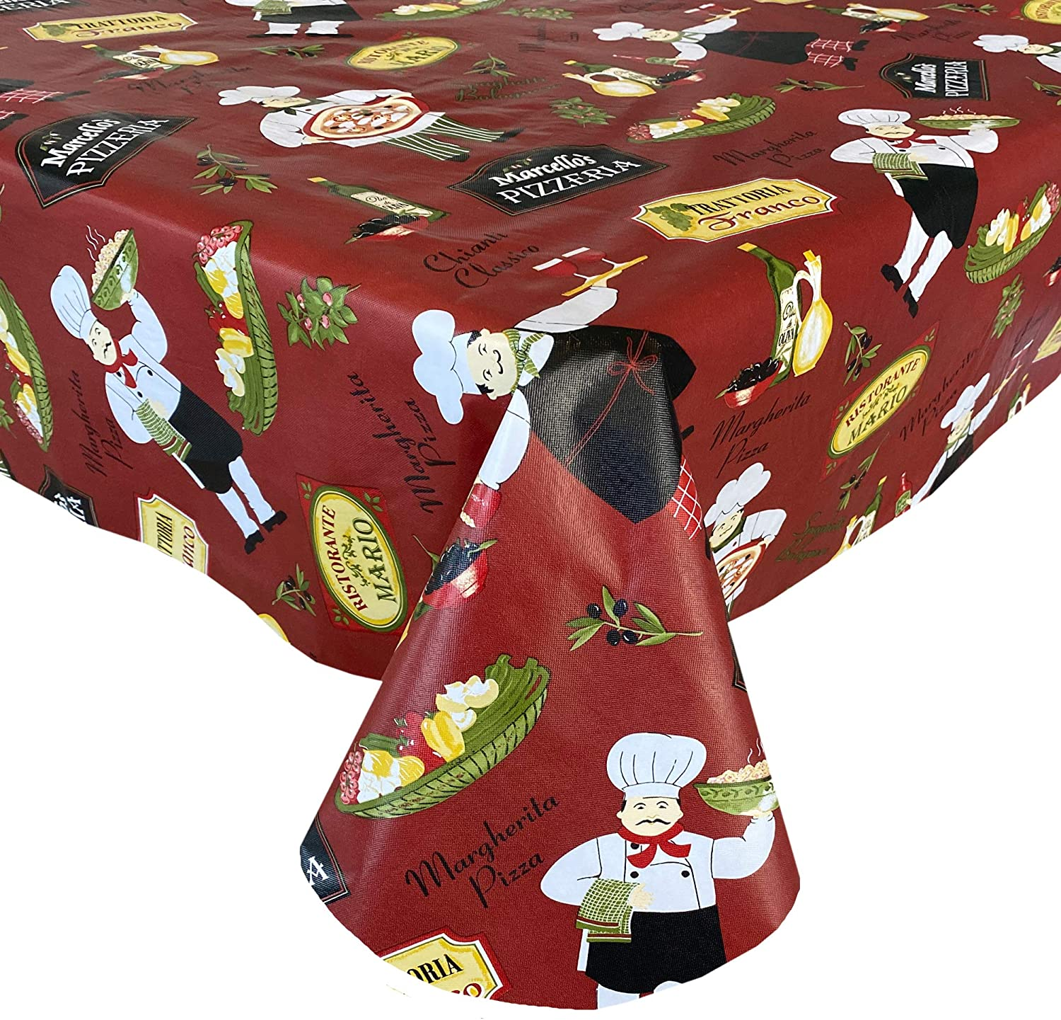 Newbridge Italian Red Bistro Chef Vinyl Flannel Backed Tablecloth, Novelty Chef Indoor/Outdoor Waterproof Tablecloth, Picnic, Barbeque, Patio and Kitchen Dining, 60 Inch x 102 Inch Oblong/Rectangle