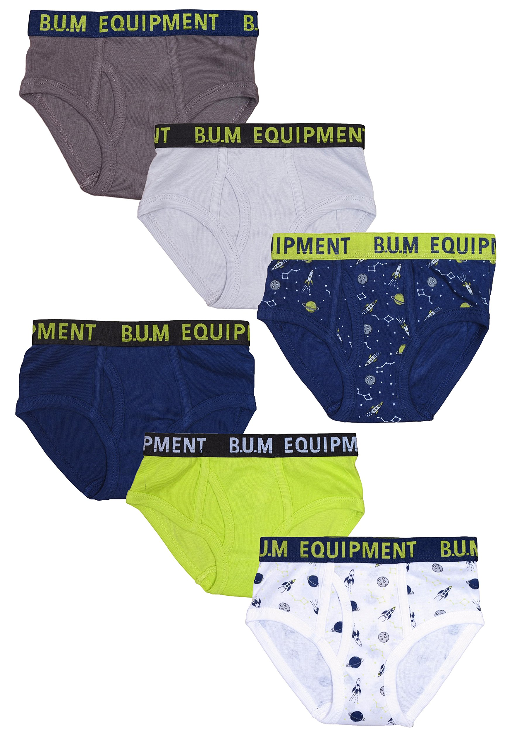 B.U.M. Equipment Boys 6 Pack Solid Underwear Briefs, Solids and Prints, Size 2/3