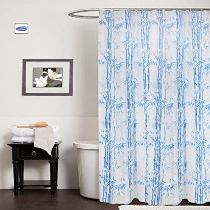 Clasiko PVC Plastic Bath Shower Bathroom Curtain with 8 Hooks (54x78-inch, Blue)