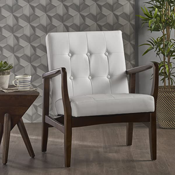 Conrad Mid Century Modern Arm Chair Faux Leather (White)
