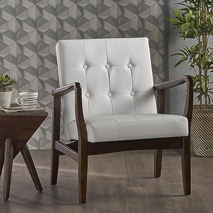 Amazoncom Conrad Mid Century Modern Arm Chair Faux Leather White