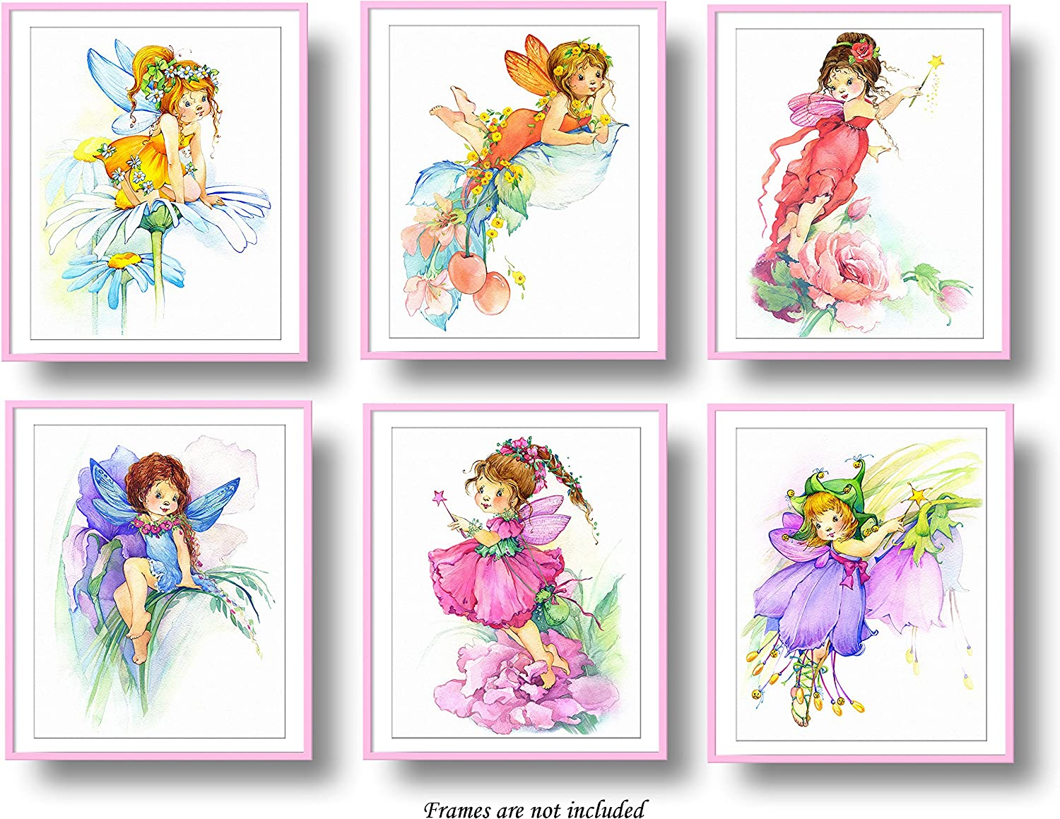 "7Dots Art. Flower Fairy. Watercolor Art Print, Poster 8""x10"" on Fine Art Thick Watercolor Paper for Childrens Kids Room, Bedroom, Bathroom. Wall Art Decor with Fairies for Boys, Girls. (Set of 6)"