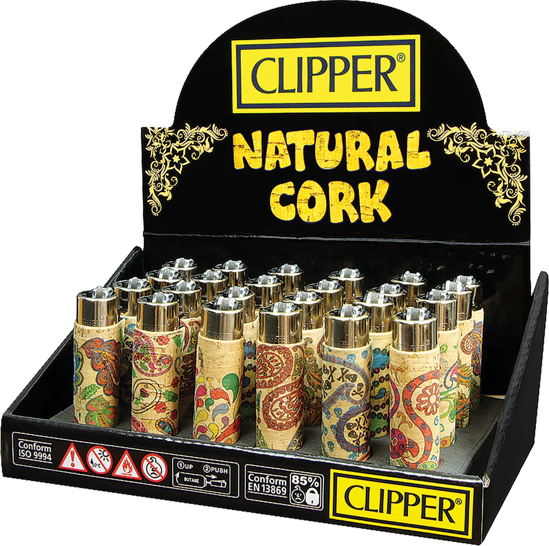 Clipper Cork (Natural Paisley) Lighters- Display Of 48