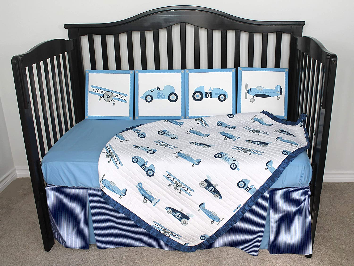 Image of 10 Piece Baby Bedding Crib Set Vintage Cars Planes One of a Kind Home and Kitchen