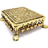 Two Moustaches Swastika Engraved 7 inches Brass Chowki with Bells | Home Decor |