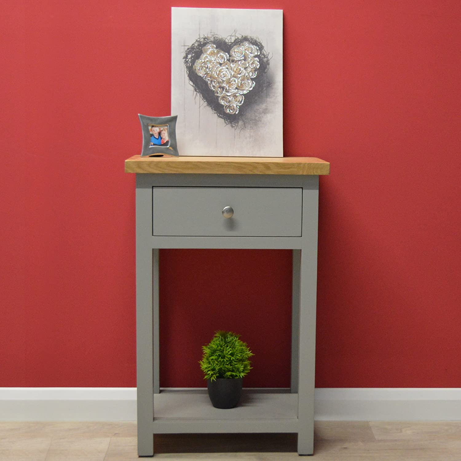 ae15deb7797b GREYSTOKE PAINTED GREY OAK SMALL CONSOLE TABLE HALL TABLE SOLID WOOD TELEPHONE  TABLE larger image