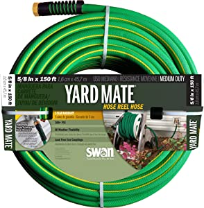 "Swan Products SNHR58150 Yard Mate Easy Reel Lightweight Hose 150' x 5/8"", Green"