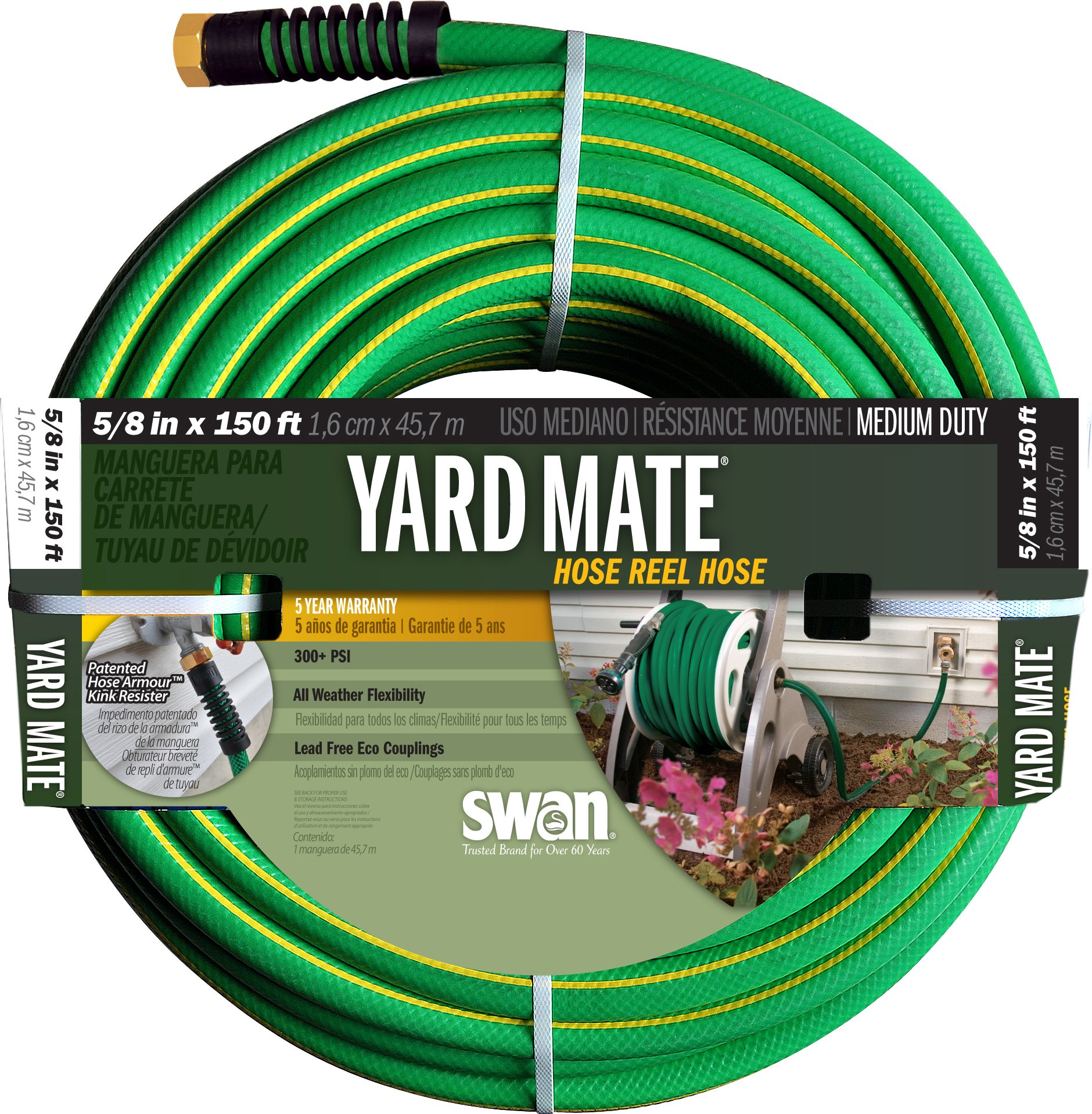Swan Products SNHR58150 Yard Mate Easy Reel Lightweight Hose 150' x 5/8'', Green