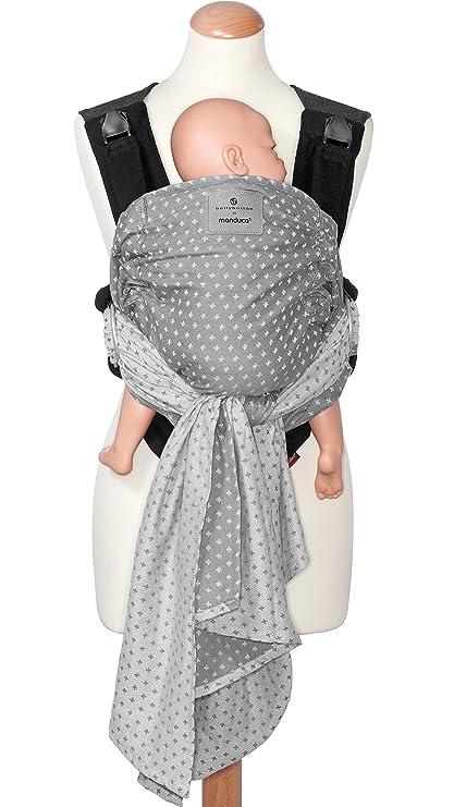 manduca Duo Portabebe > WildCrosses grey/gris < Innovador Sistema Click&Tie, Mochila y Fular