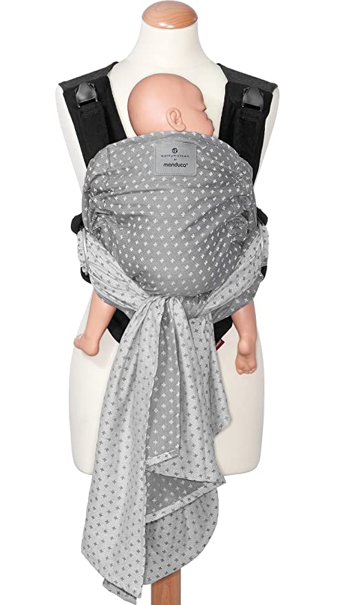 manduca Duo Portabebe > WildCrosses grey/gris < Innovador Sistema Click&Tie, Mochila Bebe y