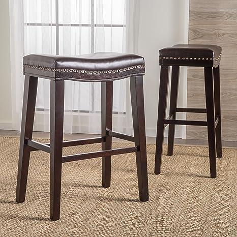 Excellent Christopher Knight Home 300577 Cavalia Saddle Shaped Studded Rim Stool Set Of 2 Brown Leather Inzonedesignstudio Interior Chair Design Inzonedesignstudiocom