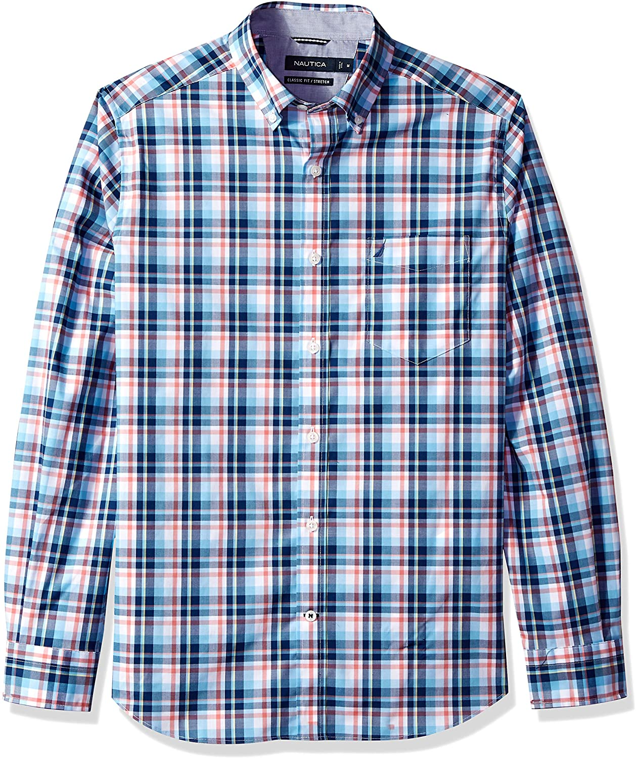 Nautica Men's Stretch Long Sleeve Plaid Button Down Shirt