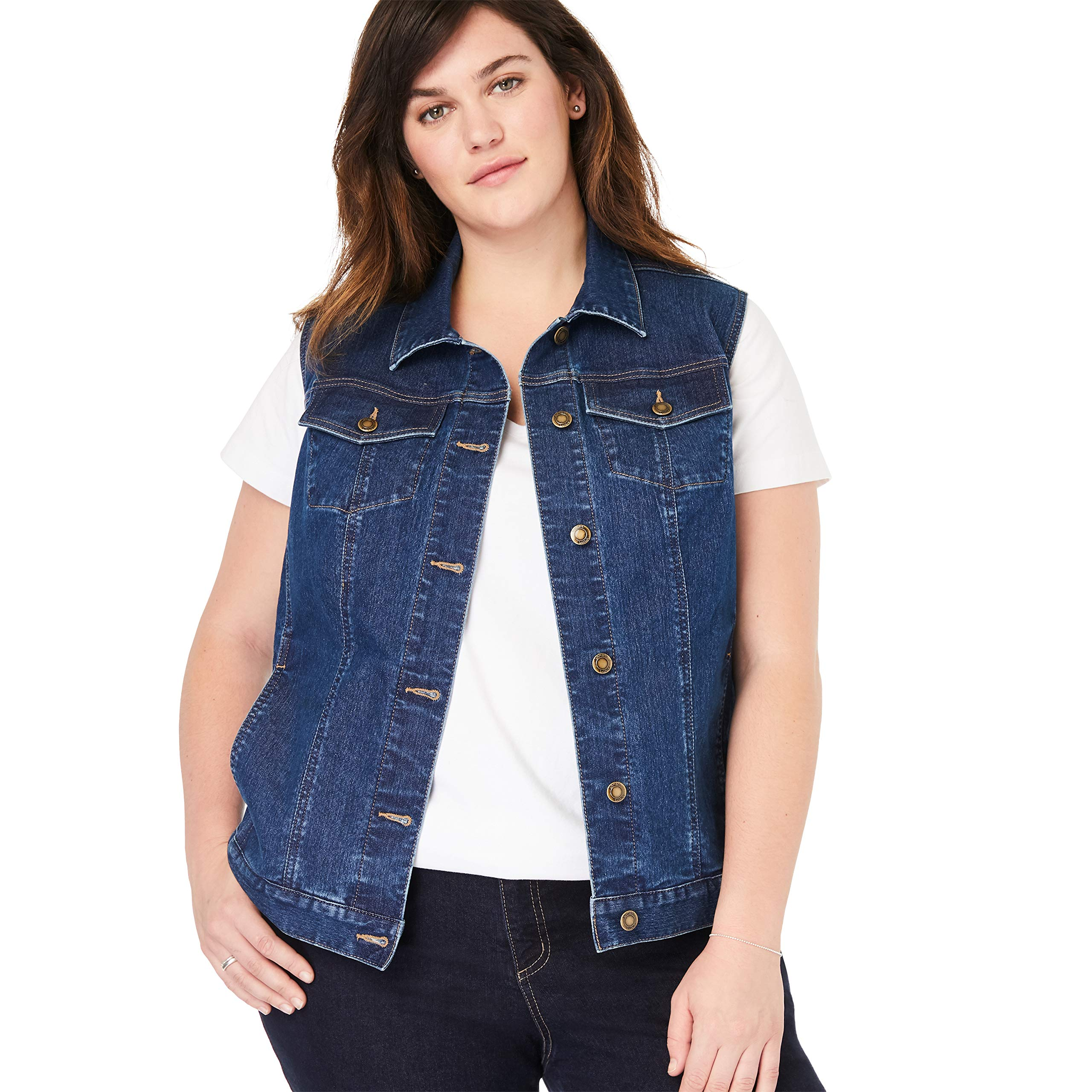 Woman Within Women's Plus Size Stretch Denim Vest - Medium Stonewash, 34 W by Woman Within