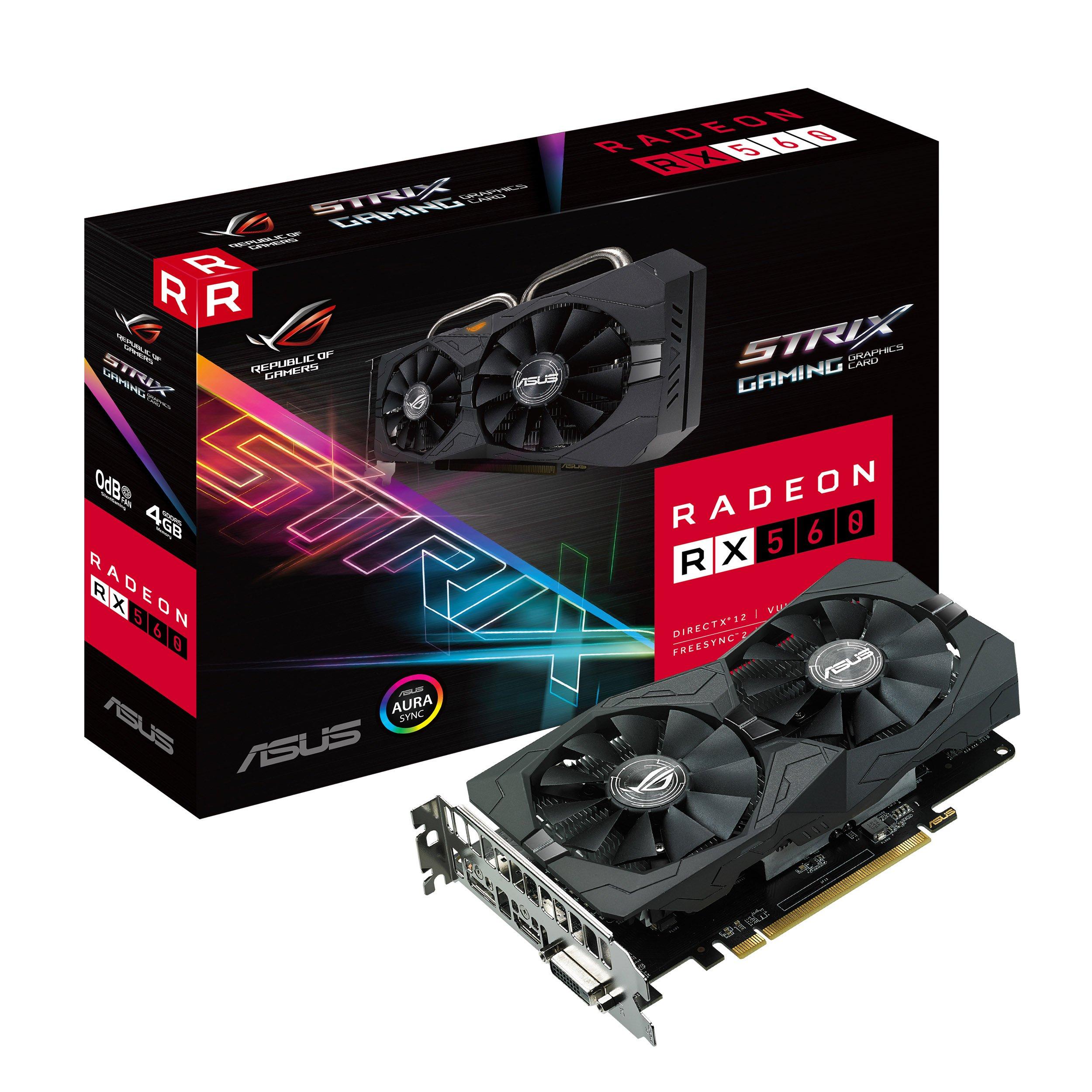 ASUS ROG Strix Radeon RX 560 16CU 4GB Gaming GDDR5 DP HDMI DVI AMD Graphics Card (ROG-STRIX-RX560-4G-GAMING)