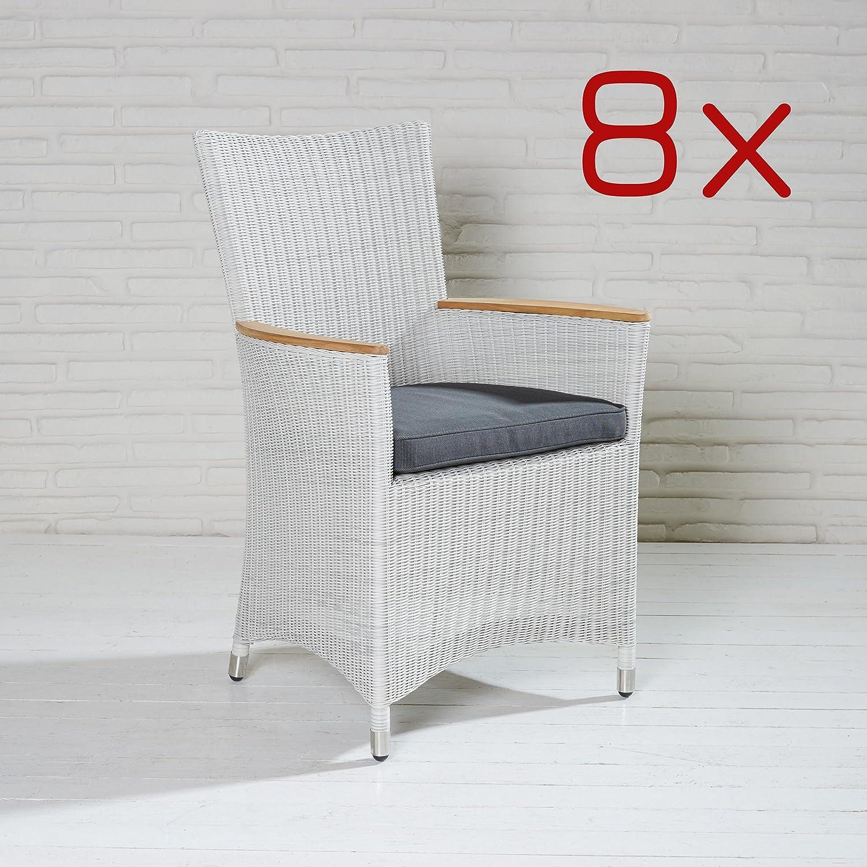 8 Gartensessel Poly Rattan Gartenstühle weiß Gartenmöbel Stuhl Set Balkonstuhl