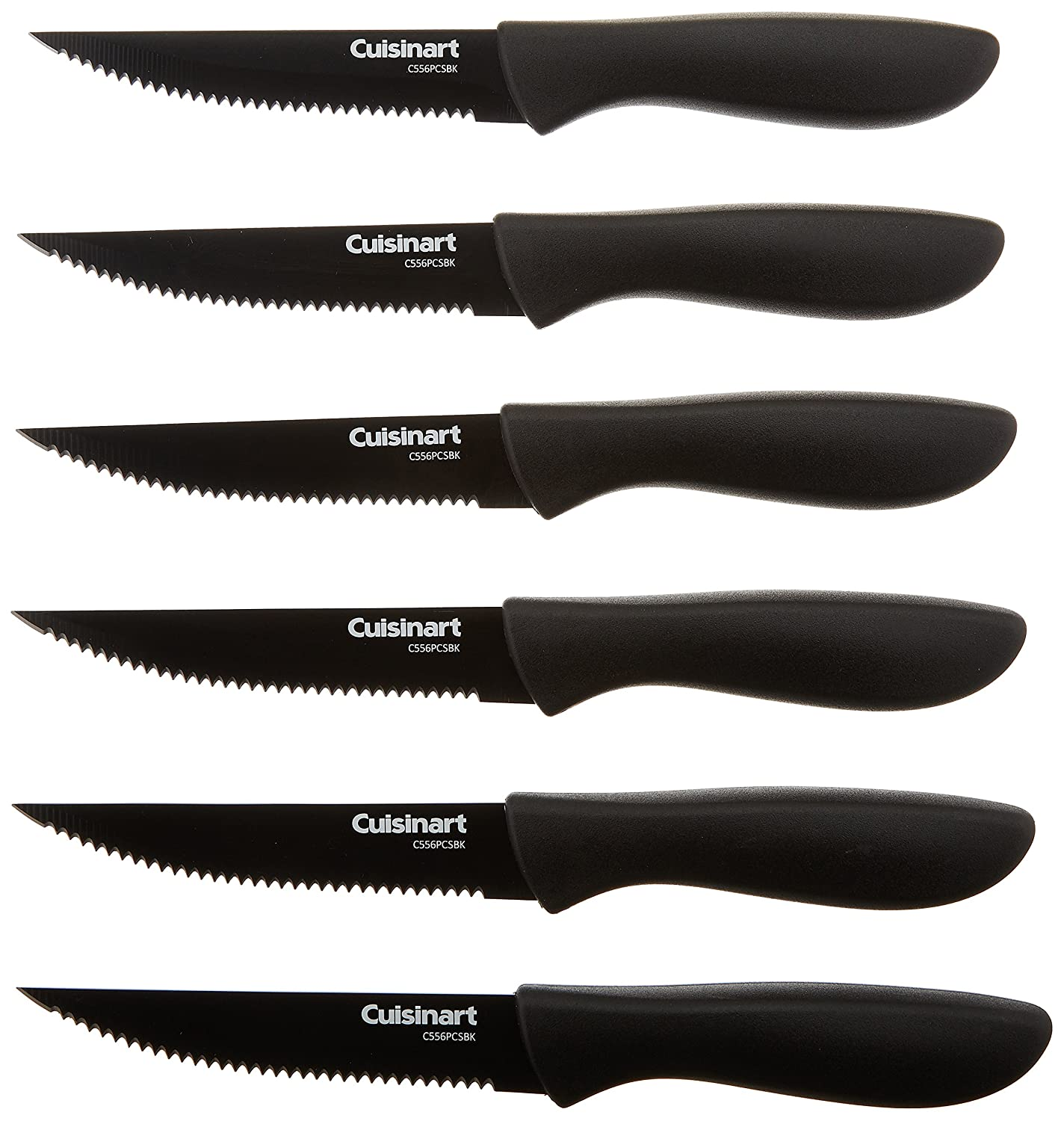 Cuisinart C55-6PCSBK Advantage Color Collection 6-Piece Ceramic Coated Steak Knife Set, Black