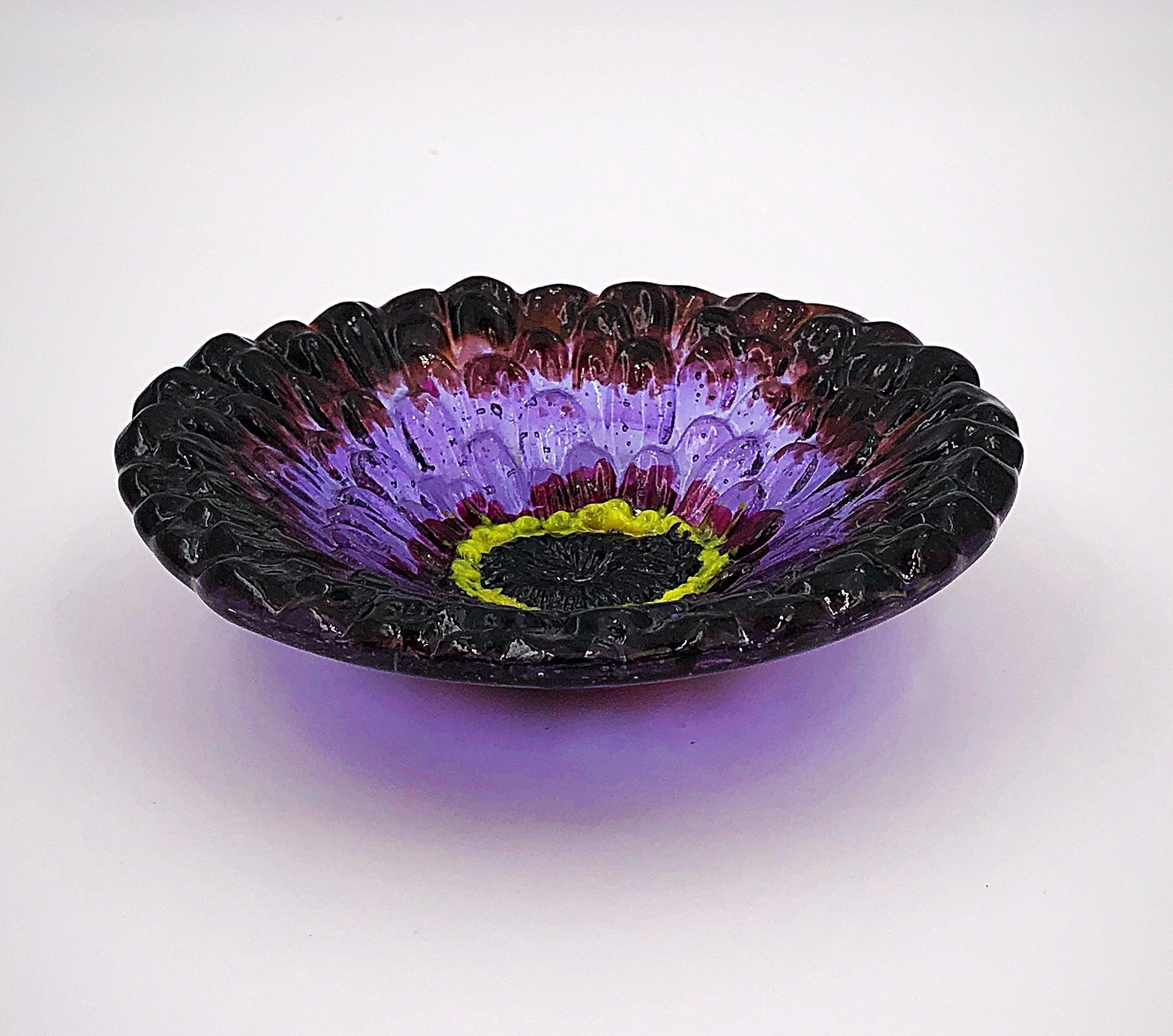 Purple Zinnia Fused Glass 6'' Decorative Bowl