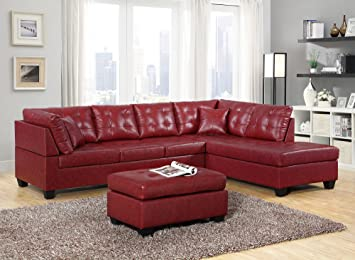 GTU Furniture Pu Leather Living Room Furniture Sectional Sofa Set in  Black/Red (with Ottoman, Red)