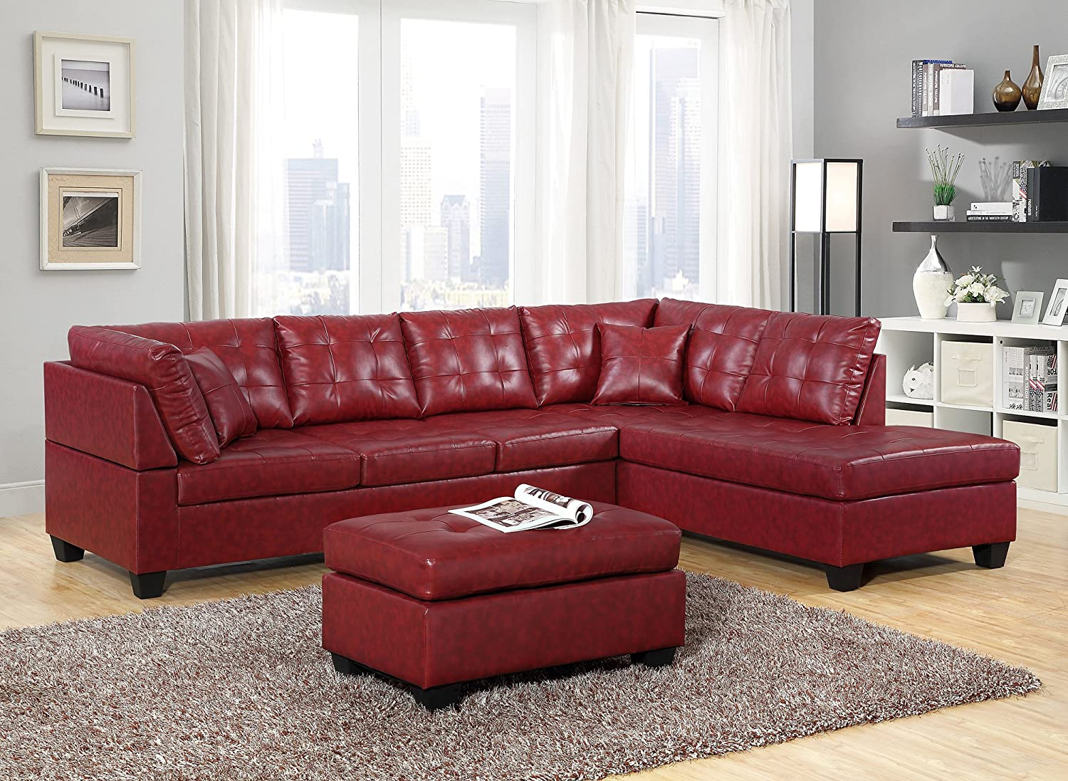 Amazon Com Gtu Furniture Pu Leather Living Room Furniture Sectional