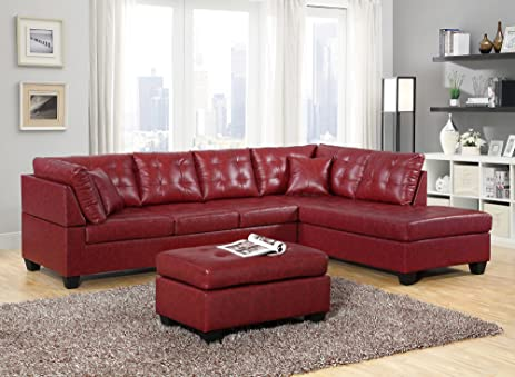 GTU Furniture Pu Leather Living Room Furniture Sectional Sofa Set In  Black/Red (With Part 84