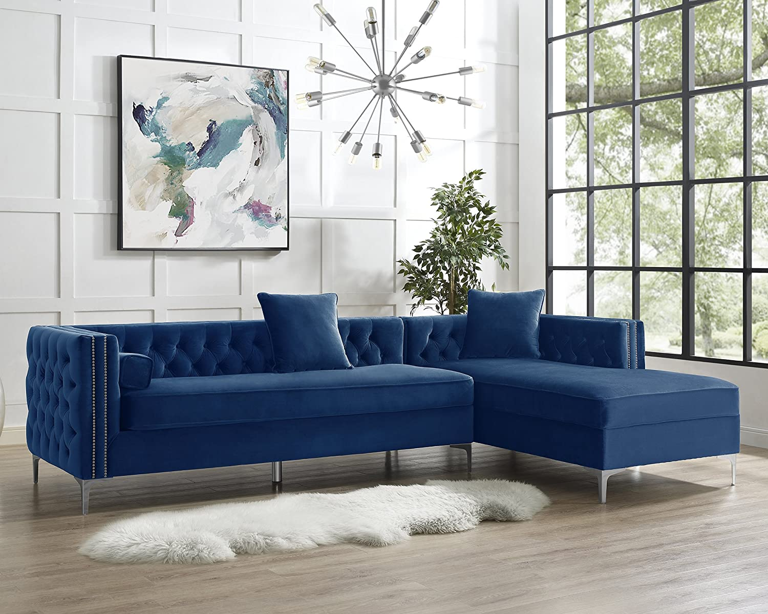 Inspired home giovanni collection velvet modern button tufted with silver nail head trim right facing hidden storage chaise sectional sofa 115 h navy