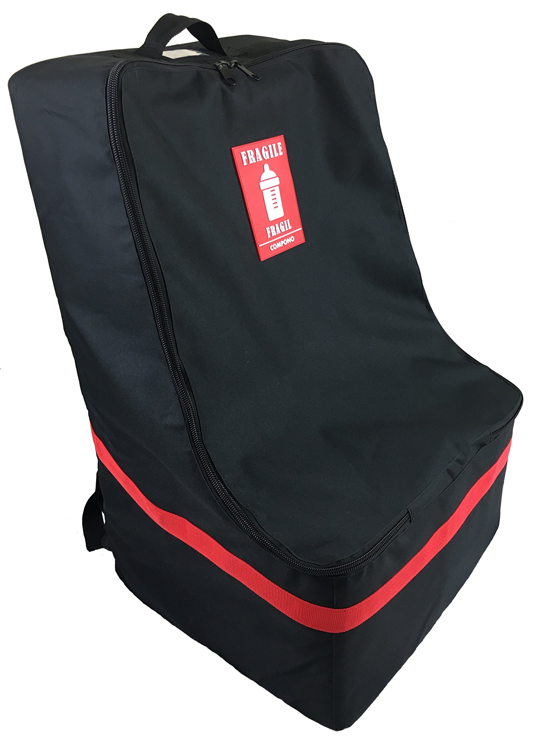 Car Seat Travel Bag - Padded Car Seat Bag Backpack COMPONO (Black with Red Trim)