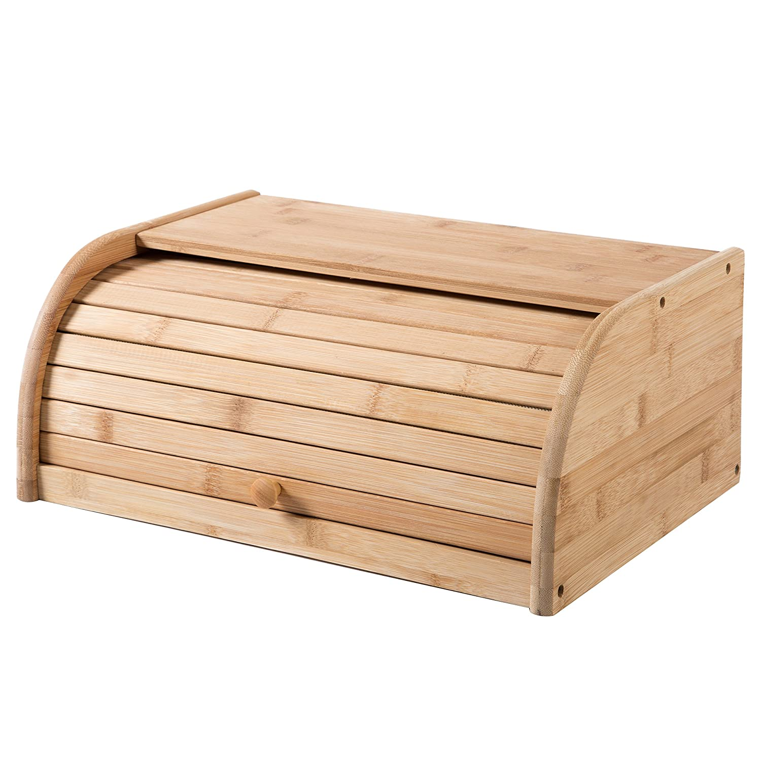 16 inch Kitchen Natural Wooden Bamboo Rolltop Bread Box Food Storage - MyGift