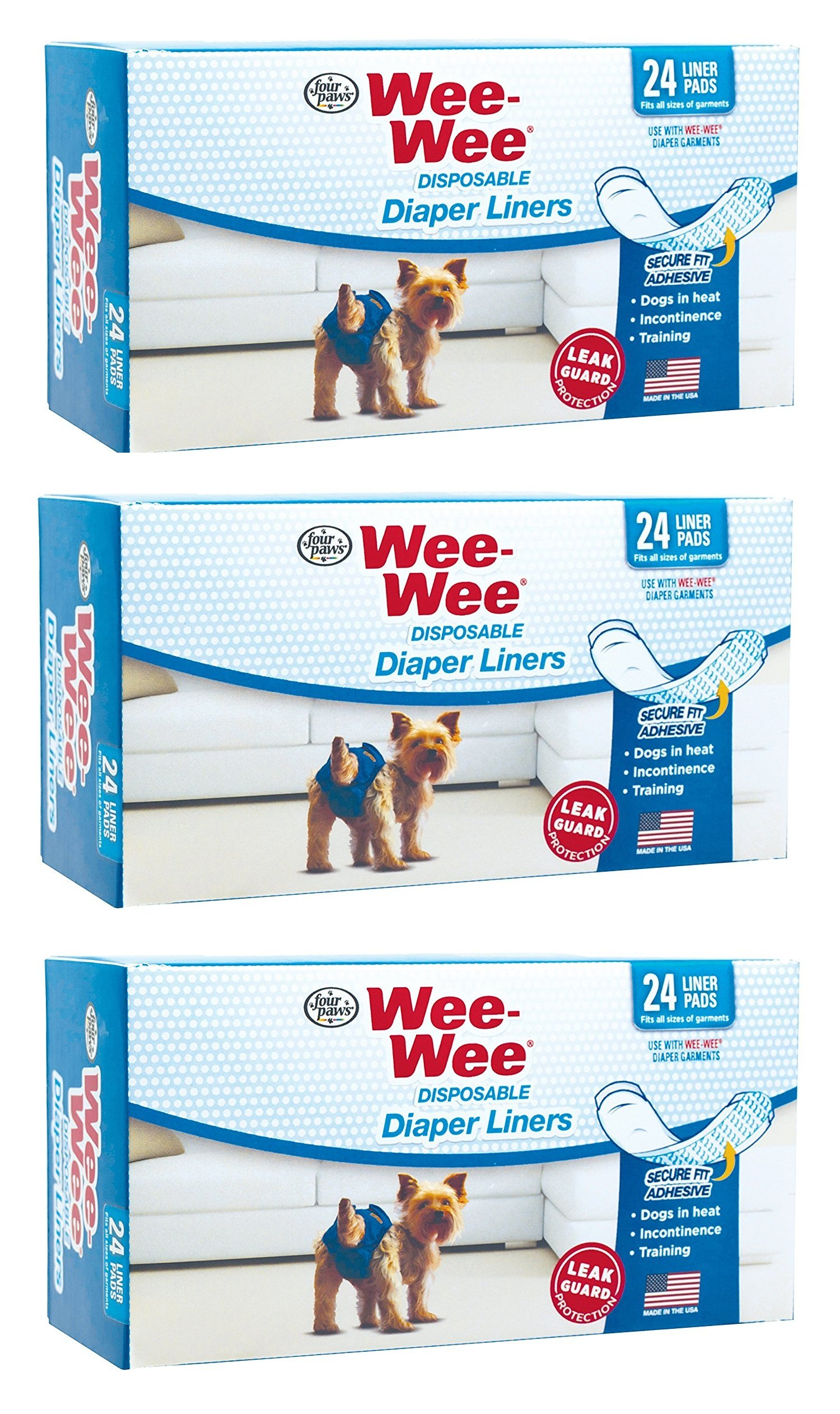 (3 Pack) Four Paws Wee-Wee Dog Diaper Garment Pads, 24 Per Pack by 4 Paws