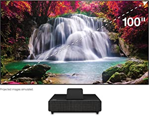 """Epson 100"""" EpiqVision Ultra LS500 Laser Ultra Short Throw Projection TV (100-inch Screen Included), 4000 lumens, 4K PRO-UHD, HDR, Android TV, HDMI 2.0, Built-in Speakers, Sports & Streaming - Black"""