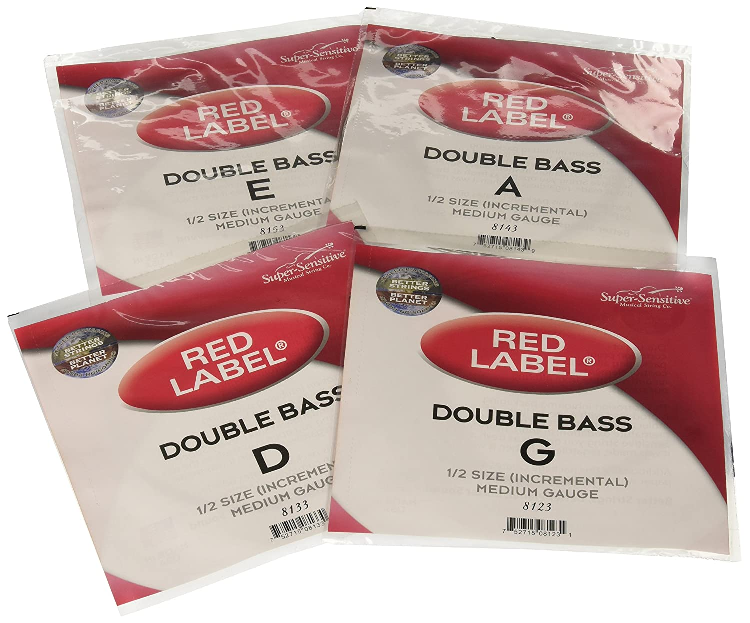 Super Sensitive 8103 Red Label Upright Bass String Set - G, D, A, E - Nickel - Incremental 1/2