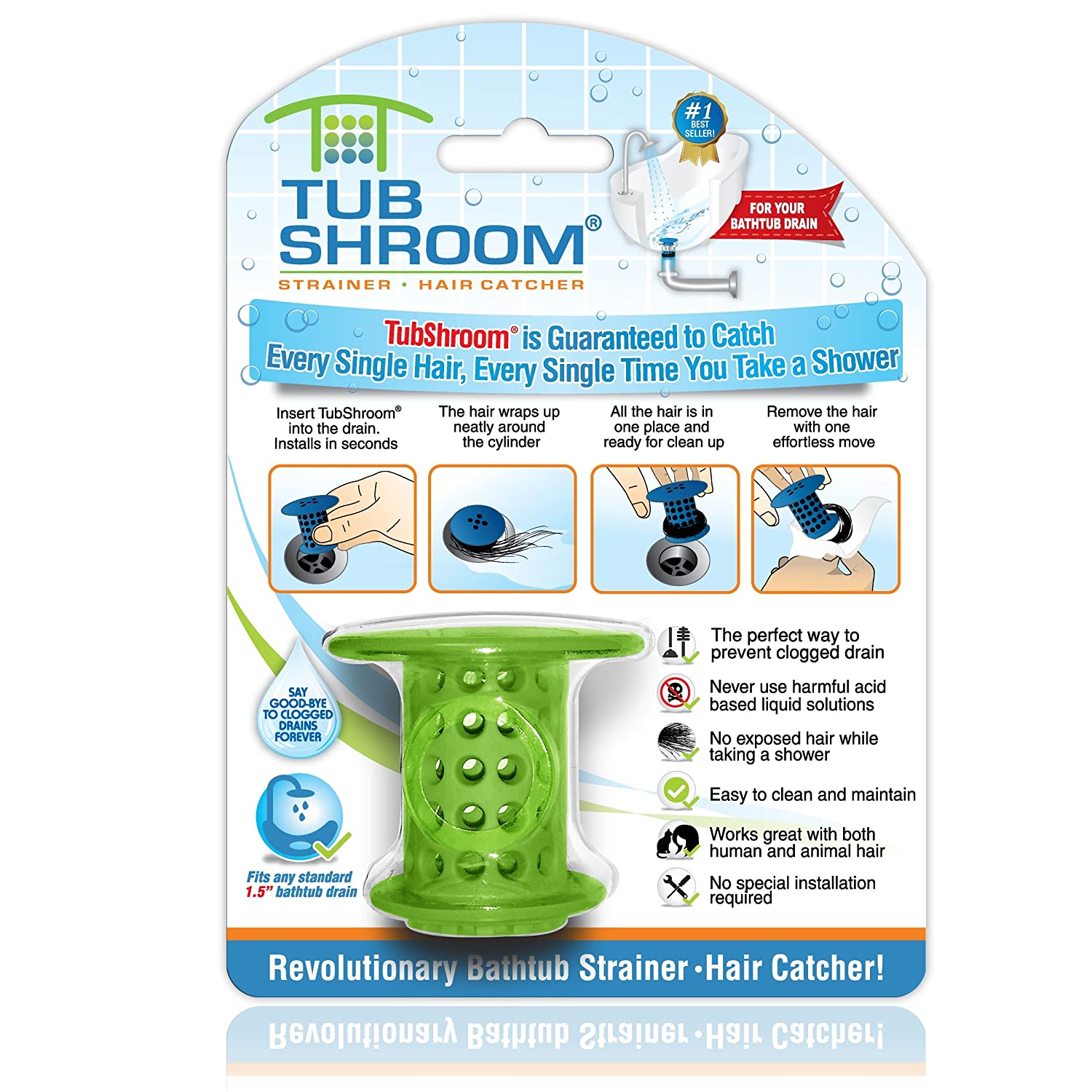 Amazon.com: TubShroom the Revolutionary Tub Drain Protector Hair ...