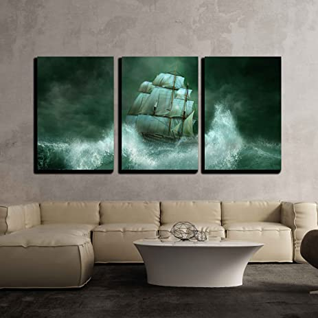 Amazon Wall48 48 Piece Canvas Wall Art Old Ship In A Gorgeous Best Way To Ship Furniture Decor