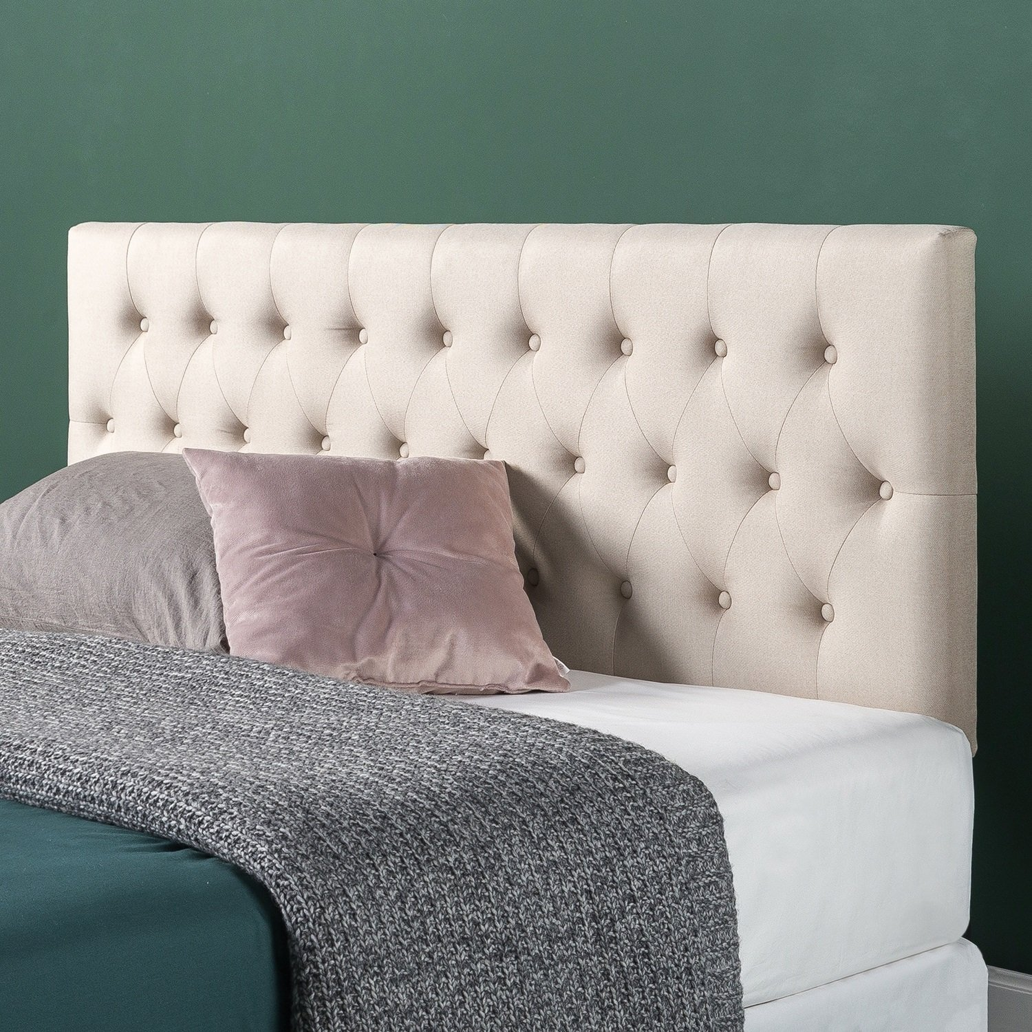Zinus Trina Upholstered Modern Classic Tufted Headboard in Taupe, Full by Zinus