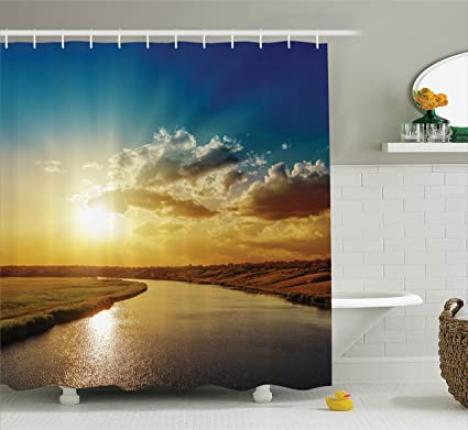 Ambesonne Clouds Shower Curtain Cool Sunset Over River Horizon Magical Landscape Phenomenal Physical Event Theme