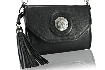 dd440d6c8c FERETI Petits pochette Noir sac à main en cuir Fereti lion 3D et gland.