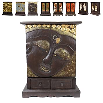 Buddha Schrank Kommode Dielenschrank Flurschrank 71cm Braun Gold