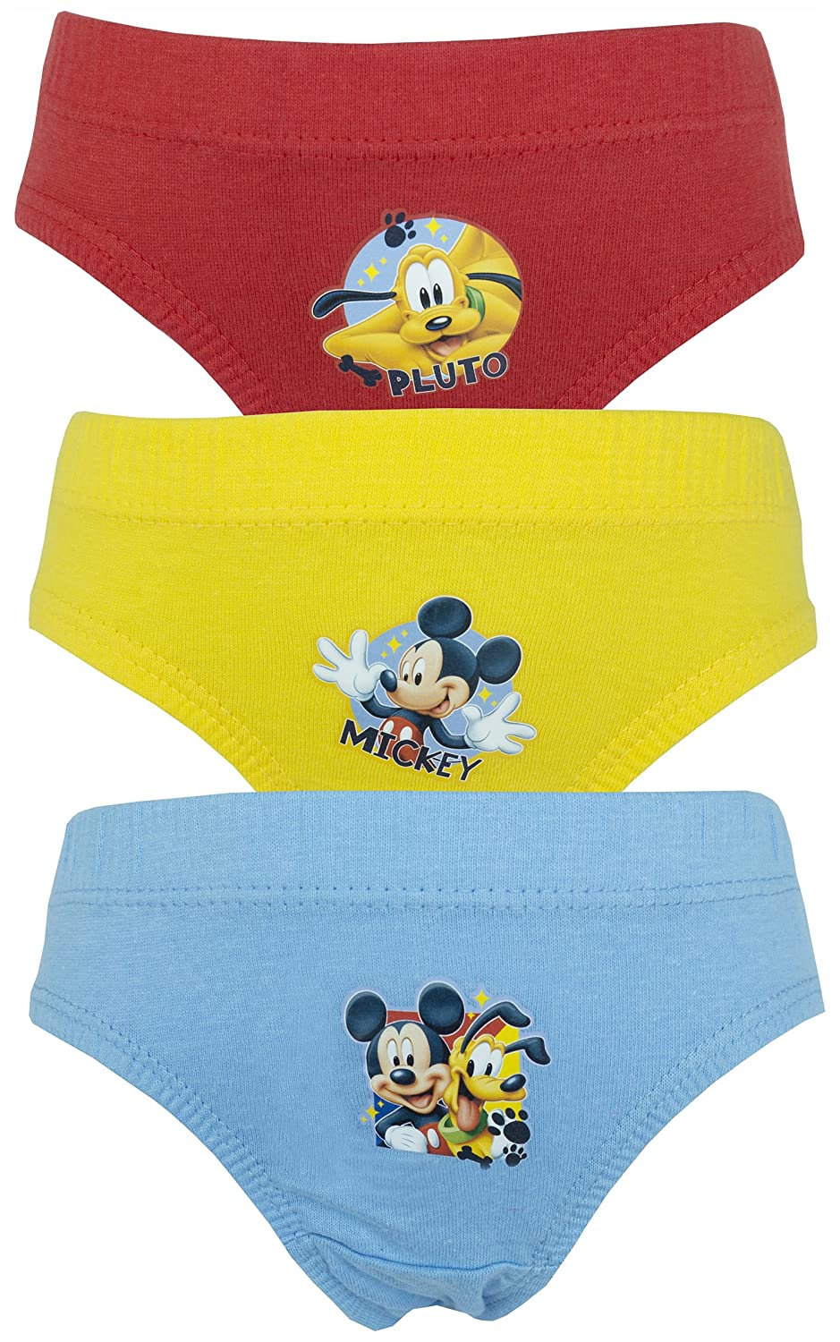 Disney Mickey Mouse & Pluto Boys 3 Pack Pants / Knickers