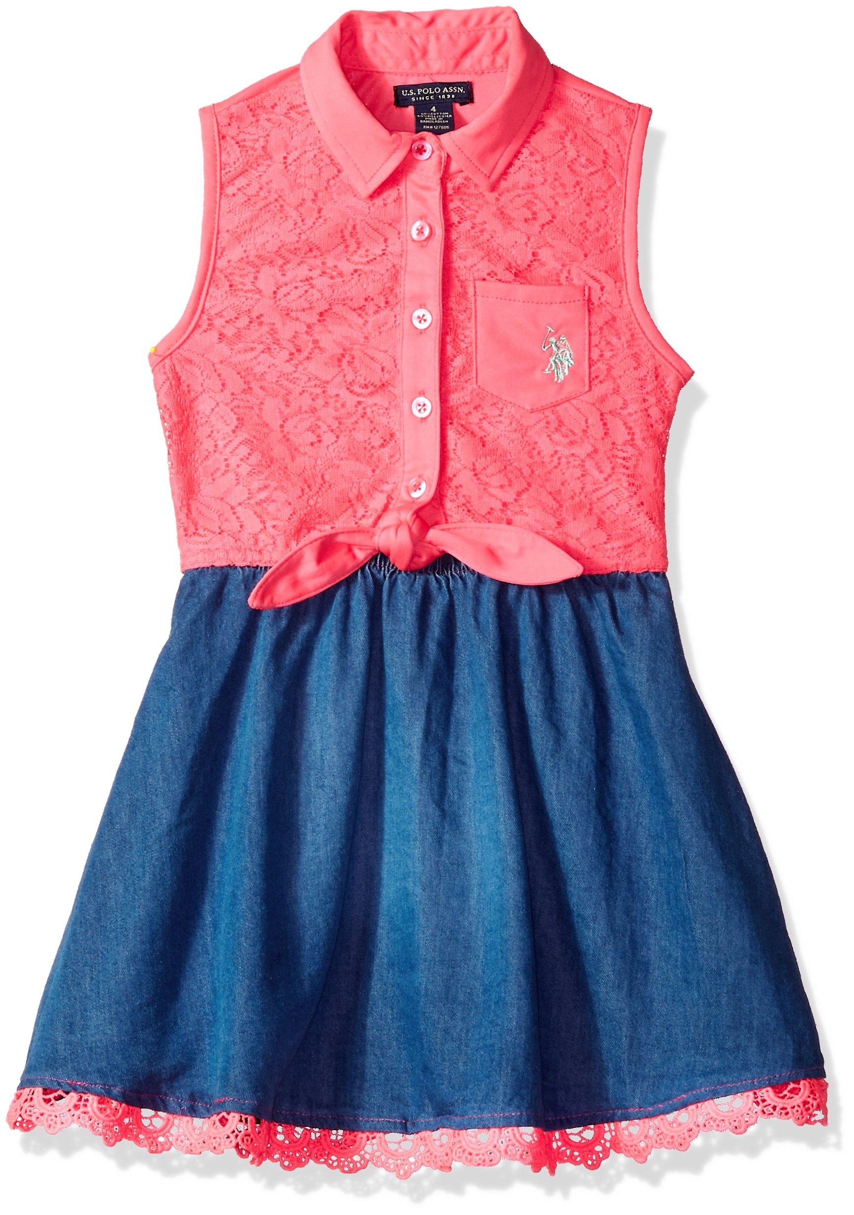 U.S. Polo Assn.. Big Girls' Casual Dress, Tencel Lace Neon Pink, 12