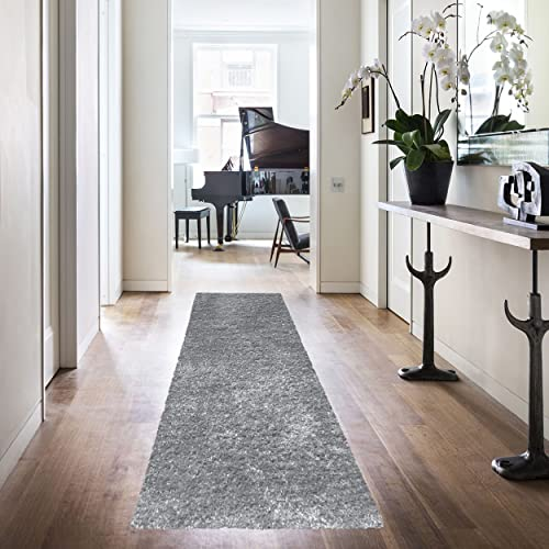 Superior Textured Shag Runner Rug, Grey, 2 7 x 8