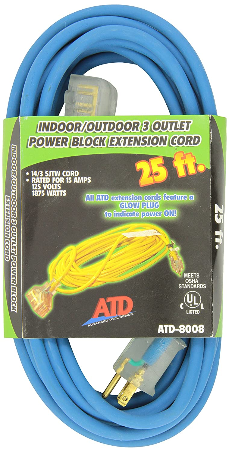 Atd Tools 8008 25 3 Wire Power Block Extension Cord Outside Electrical Cable Wiring Regulations Automotive