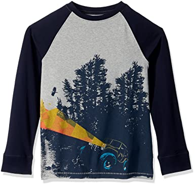b72e412ddf Gymboree Big Boys' Long Graphic Tee with Sleeve Detail, Grey Jeep, ...
