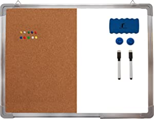 "Combination Whiteboard Bulletin Board Set - 24 x 18"" Dry Erase/Cork Board with 1 Magnetic Dry Eraser, 2 Markers, 2 Magnets and 10 Thumb Tacks - Small Combo Tack White Board for Home Office Desk"