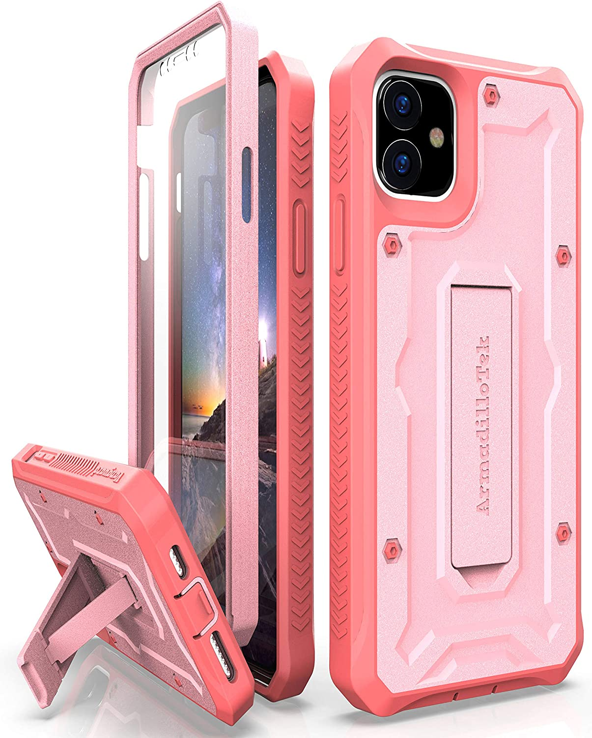 ArmadilloTek Vanguard Case Compatible with iPhone 11 (6.1 inches) Military Grade Full-Body Rugged with Kickstand and Built-in Screen Protector - Pink