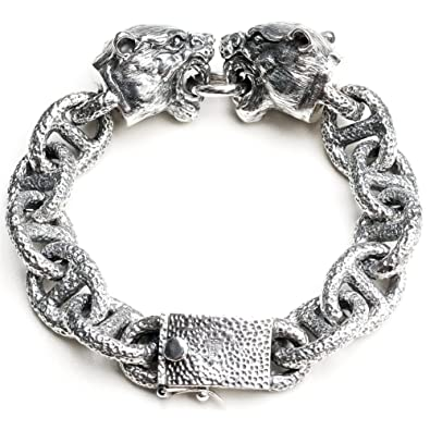 2c83aafb878ea Amazon.com: Biker Bracelet Handcraft 925 Sterling Silver Gothic ...