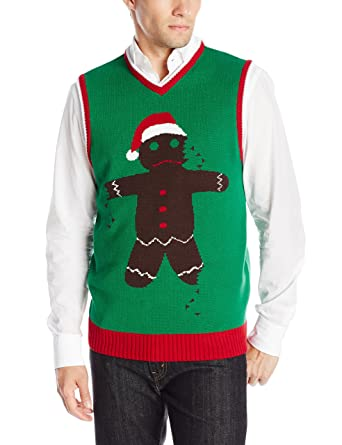 Ugly Christmas Sweater Men's Gingerbread Man Vest at Amazon Men's ...