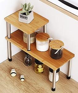 HYNAWIN 2 Tier Corner Shelf Storage Shelves-Bamboo & Metal Adjustable Spice Rack Riser,Standing Counter top Cabinet Display Shelf-Creative Space Saving Organizer for Kitchen,Bathroom,Office(Square)