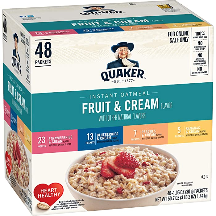 Quaker Instant Oatmeal, Fruit & Cream 4 Flavor Variety Pack, Individual Packets, 48 Count