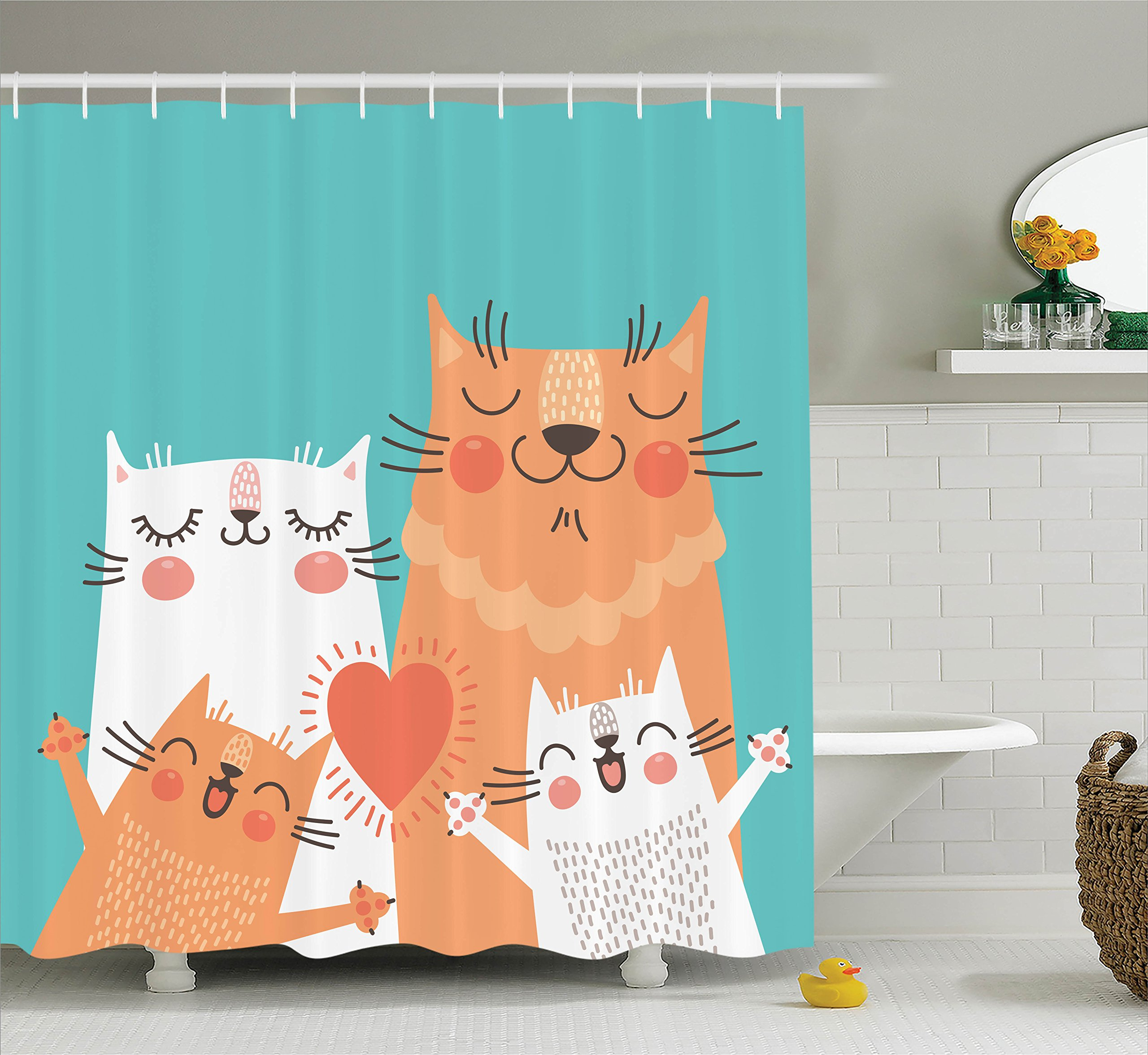 Ambesonne Funny Decor Shower Curtain Set, Cute Kitten Couple Sweet Happy Paws Loving Heart with Family Cats Poster Style Animal Art Theme, Bathroom Accessories, 75 inches Long, Multi